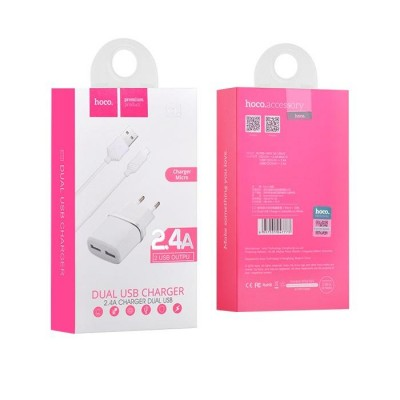 Hoco Dual Adaptor 2.4A Charger + Micro Usb Cable White Blister