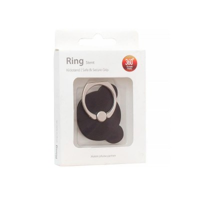 Ring Holder for Mobiles Bear Black