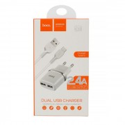 Hoco Dual Adaptor 2.4A Charger + Type C Cable White Blister