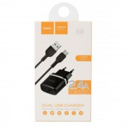 Hoco Dual Adaptor 2.4A Charger + Type C Cable Black Blister