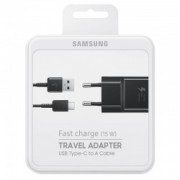Samsung EP-TA20EBE Fast Charger Adaptor 2.0A + Type C Usb Cable Black Blister
