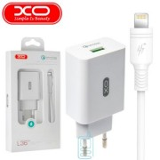XO Charger Adaptor 3.0A L36 + iPhone Lightning Cable White Blister