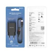 Borofone Charger Adaptor BA20A 2.1A + Type C  Cable Black Blister