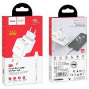 Hoco Charger Adaptor N2 2.1A + Type C Cable White Blister