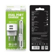 Borofone Charger Dual Adaptor BA23A 2.4A + Lightning Cable White Blister