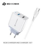RO&MAN Charger Adaptor x2 DUAL RCO6D 2.4A + Type C Cable White Blister