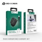 RO&MAN Charger Adaptor x2 DUAL RCO6D 2.4A + Type C Cable Black Blister