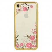iPhone 11 Flowers & Diamonds Silicone Case Gold