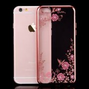 iPhone 11 Flowers & Diamonds Silicone Case Rose Gold