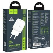 Hoco Charger Adaptor Dual N4 2.4A White Blister