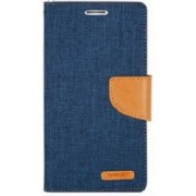 Samsung A8 Plus 2018 / A730 Book Canvas Case Jeans Blue